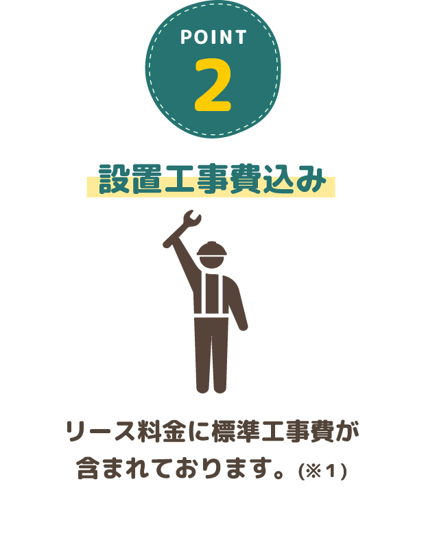 2.設置工事費込み・リース料金に標準工事費が含まれております。